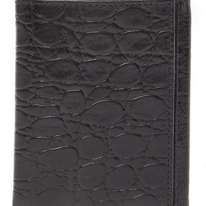 BOSCA Victoria Tri-Fold Croc Embossed Wallet black